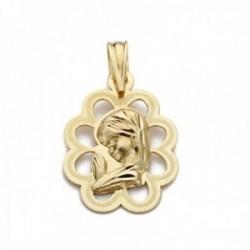 Medalla oro 18k Virgen Niña 18mm. calada cerco