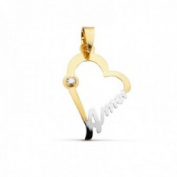 Colgante oro bicolor 18k silueta corazón 22mm. palabra AMOR detalle circonita