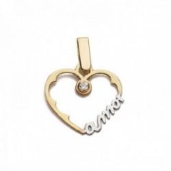 Colgante oro bicolor 18k corazón silueta 16mm. palabra AMOR detalle circonita