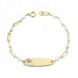 Esclava oro 18k bebé 13cm. chapa detalle chupete esmaltado cadena eslabones perlas cierre reasa