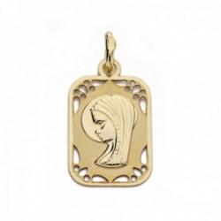 Medalla oro 18k Virgen Niña 19mm. tallada rectangular detalles calados