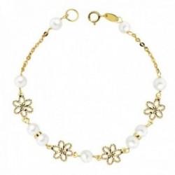 Pulsera oro 18k niña Primera Comunión 18cm. perlas 5.5mm flores talladas cadena forzada cierre reasa