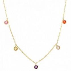 Gargantilla oro 18k cadena forzada 40cm. piedras colores 5mm. redondas colgando cierre reasa