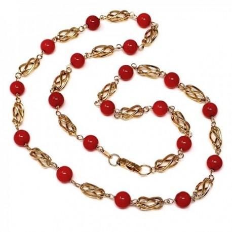 Gargantilla collar oro 18k 60cm. eslabones jaulas coral fino japonés 7.5mm. cierre mosquetón