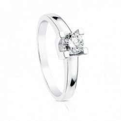 Solitario oro blanco 18k diamante brillante 0.5ct. cuerpo liso