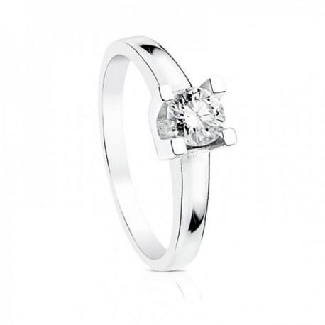 Solitario oro blanco 18k diamante brillante 0.3ct. cuerpo liso