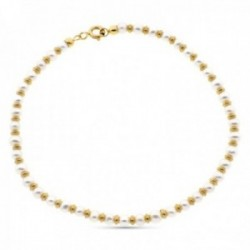 Pulsera oro 18k alterna 19cm. anillas brillo perlas 3mm. cierre reasa