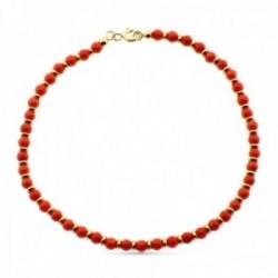 Pulsera oro 18k alterna 19cm. coral fino anillas brillo cierre reasa