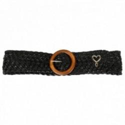 Cinturón Lola Casademunt trenzado negro hebilla redonda madera