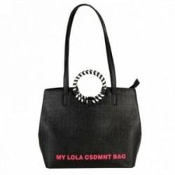 Bolso Lola Casademunt negro asa bicolor circular detalle logotipo rosa cierre cremallera