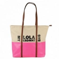 Bolso shopper Lola Casademunt My Lola canvas franja rosa flúor asas eco-piel cierre cremallera