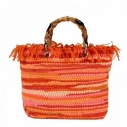 Bolso Lola Casademunt símil rafia asa bambú tonos rosa naranja verde flecos cierre cremallera