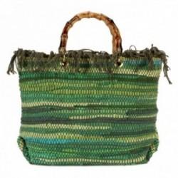 Bolso Lola Casademunt símil rafia asa bambú tonos verdes detalle flecos cierre cremallera