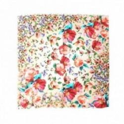 Pañuelo Lola Casademunt 60x60cm. estampado flores multicolores bordes detalle flecos