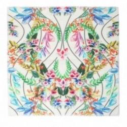 Pañuelo Lola Casademunt 60x60cm. estampado floral multicolores topitos bordes detalle flecos