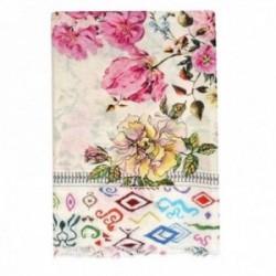 Pañuelo Lola Casademunt 100x100cm. estampado floral multicolor detalle borde formas flecos