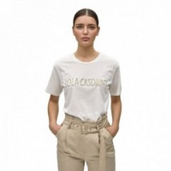 Camiseta Lola Casademunt manga corta cuello redondo LOLA CASDMNT combinado perlas brillantitos