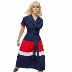 Vestido Lola Casademunt marinero cruzado azul marino franjas blanca roja cierre lazada a la cintura