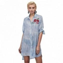 Camisola Lola Casademunt estampado formas rayas azules detalle dibujo granadas cierre botones