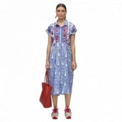 Vestido kurta Lola Casademunt estampado bordado flores rojas cierre botones