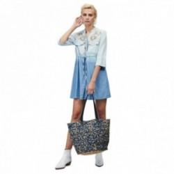 Vestido camisero Lola Casademunt denim bordado degradado color cierre botones centro lazo pedrería