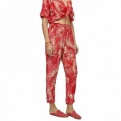 Pantalón Lola Casademunt estampado palmeras estilo suelto tobillero tonos rosas rojos cintura goma
