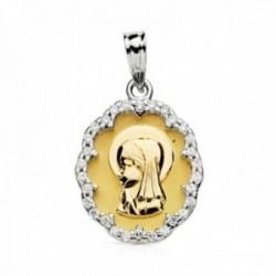 Medalla oro bicolor 18k Virgen Niña 20mm. oval formas cerco circonitas