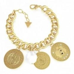 Pulsera Guess Coin UBB79150-S acero inoxidable chapado oro monedas logo 4G mujer perla imitación