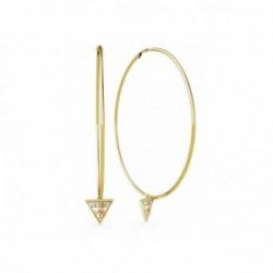 Pendientes Guess Hula Hoops UBE79065 acero inoxidable chapado oro 80mm detalle logo colgando esmalte