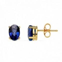 Pendientes oro 18k 7mm. garras gema zafiro 1.58ct. cierre presión