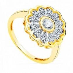 Sortija oro bicolor 18k centro detalle rosetón 14mm. flor circonitas cuerpo liso