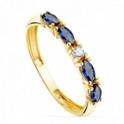 Sortija oro 18k circonitas azules talla marquise centro blanca cuerpo 2mm. liso