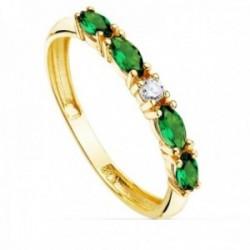 Sortija oro 18k circonitas verdes talla marquise centro blanca cuerpo 2mm. liso