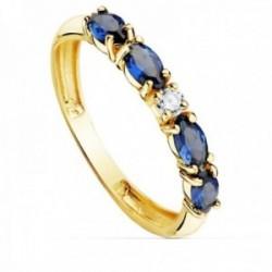 Sortija oro 18k circonitas azules talla marquise centro blanca cuerpo 2.5mm. liso