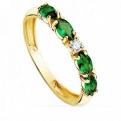 Sortija oro 18k circonitas verdes talla marquise centro blanca cuerpo 2.5mm. liso