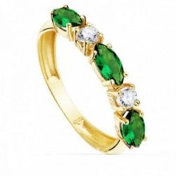 Sortija oro 18k circonitas alternas verdes talla marquise blancas redondas cuerpo 3mm. liso
