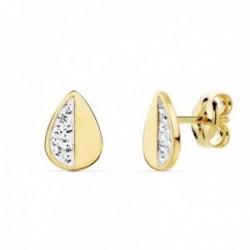 Pendientes oro bicolor 18k forma hoja 8mm. mitad lisa mitad circonitas cierre presión