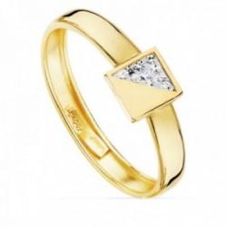 Sortija oro bicolor 18k centro forma cuadrado 5mm. mitad liso mitad circonitas cuerpo liso