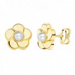 Pendientes oro 18k flor 9mm. centro perla 3mm. cierre presión