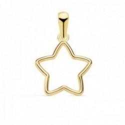 Colgante oro 18k estrella 12.5mm. calada cerco liso