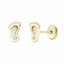 Pendientes oro 18k niña 6mm. pies fondo nácar detalle circonita cierre tornillo