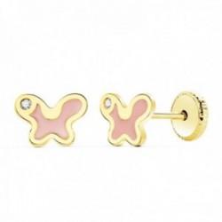 Pendientes oro 18k niña 7mm. mariposa esmalte rosa detalle circonita cierre tornillo