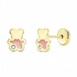 Pendientes oro 18k niña 6mm. osito esmalte rosa detalle circonita cierre tornillo