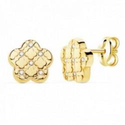 Pendientes oro 18k flor 7.5mm. detalle formas circonitas cierre presión