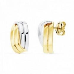 Pendientes oro bicolor 18k 13mm. bandas lisas cruzadas cierre presión