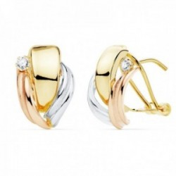 Pendientes oro tricolor 18k 15mm. bandas lisas detalle circonita cierre palillo omega
