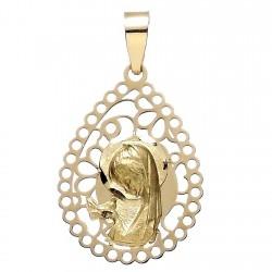 Medalla oro 18k Virgen Niña lágrima calada [5783]