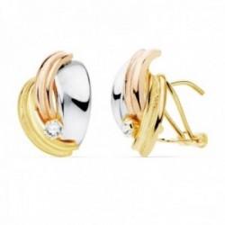Pendientes oro tricolor 18k 14mm. bandas lisas detalle circonita cierre palillo omega