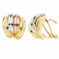 Pendientes oro tricolor 18k bandas lisas 13mm. cierre palillo omega