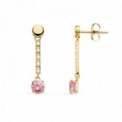 Pendientes oro 18k 25mm. piedra color rosa redonda detalle circonitas cierre presión